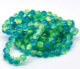 30 Crackle Glass BLUE and YELLOW Round Glass Beads . 10mm . bgl0316