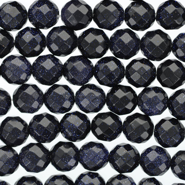 8mm Dark BLUE GOLDSTONE Round Faceted Beads, full strand, about 50 beads ggs0012
