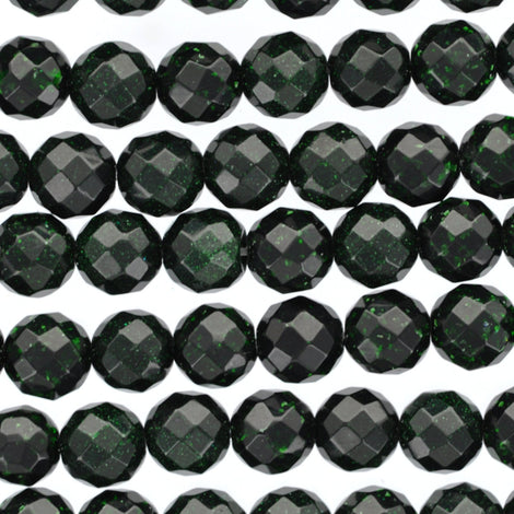 Dark GREEN GOLDSTONE Round Faceted Beads 6mm . 1 long strand . about 65 beads ggs0020