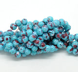 6mm TURQUOISE BLUE Glass Beads with Maroon, White and Black Drizzle Accents, Rare, Hard to Find, 140 beads  bgl0673