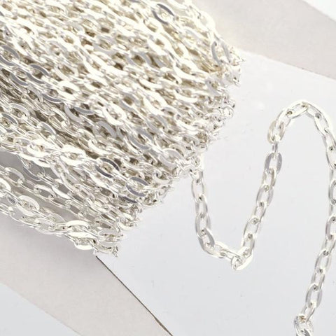 1 yard (3 feet) of SILVER PLATED FLAT Link Chain  .  unsoldered links are 5 x 3.5mm fch0213a