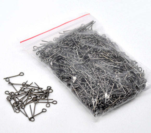 "Bulk Package 900 GUNMETAL BLACK Metal Eye Pins 21/22 gauge, 16mm (about 0.63"" long)  pin0054"