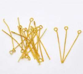 "Bulk Package 300 BRIGHT GOLD TONE Metal Eye Pins 21/22 gauge, 45mm (about 1.8"" long) pin0012"