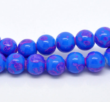 50 Round Glass Beads, blue with pink marbeling, marble pattern, 8mm bgl0679