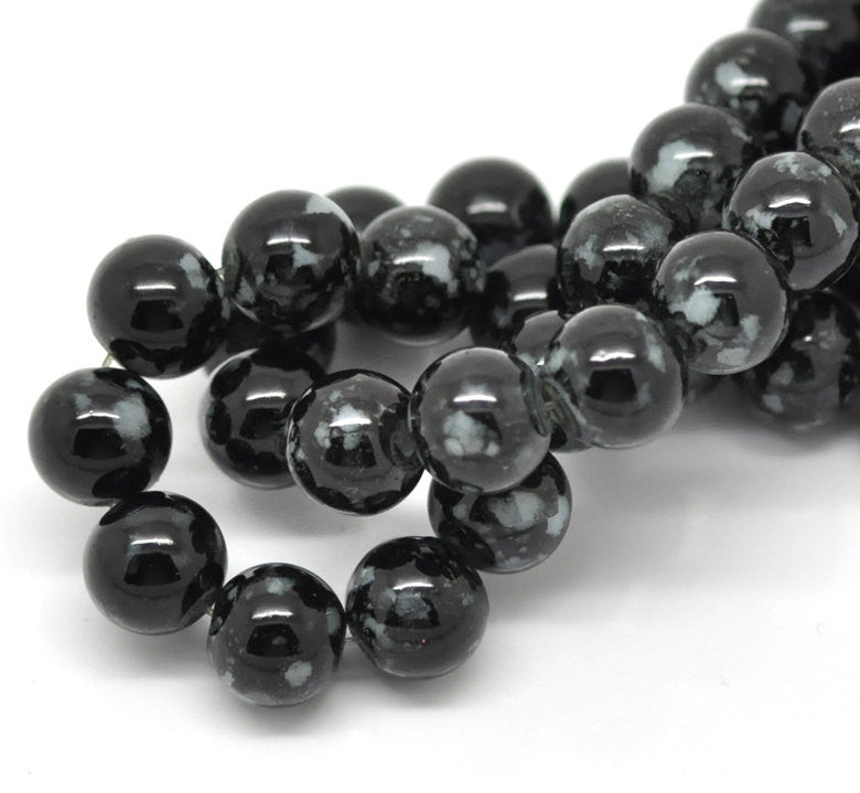 40 Round Glass Beads, black and white marbeling, marble pattern, 10mm bgl0381