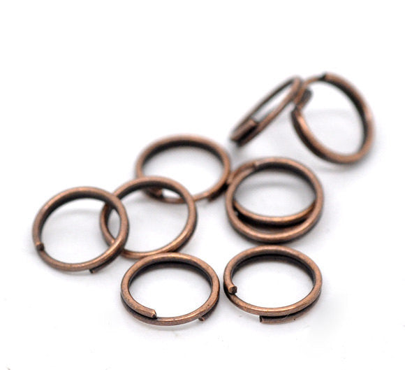 1000 BULK Copper Double Loops Split Rings Open Jump Rings . 7mm  jum0050b