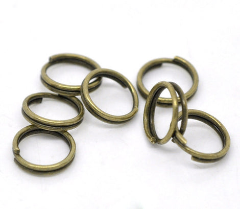 50 Antique Bronze Plated Double Loops Split Rings Open Jump Rings . 8mm . jum0071a
