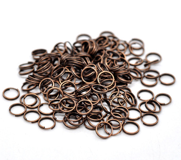 400 BULK Copper Plated Double Loops Split Rings Open Jump Rings . 8mm  jum0049b