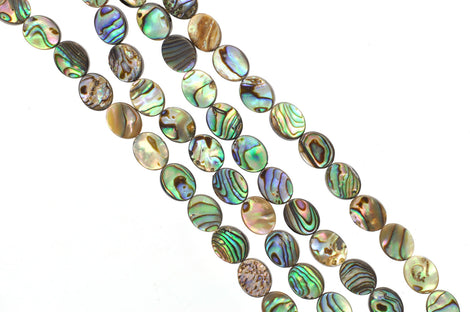"16x12mm ABALONE SHELL Beads, oval double sided, 16"" strand about 24 beads bsh0017"