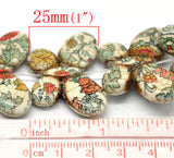 6 Large Gemstone Howlite Pendant Charm Beads . FLORAL PRINT BUTTERFLY . how0094