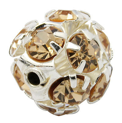 10 pc Silver Metal Rhinestone Disco Ball Spacer Beads . GOLDEN TOPAZ FIREBALL  8mm  bme0067
