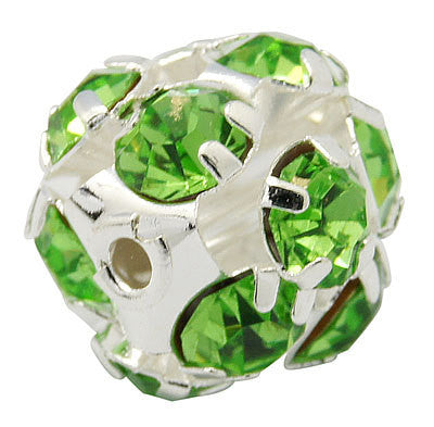 10 pc Silver Metal Rhinestone Disco Ball Spacer Beads . PERIDOT GREEN FIREBALL . 8mm bme0051