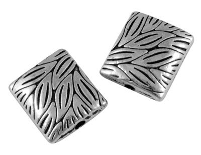 20 Antique Silver Tone SQUARE LEAF PATTERN Charm Spacer Beads 10x9mm bme0035
