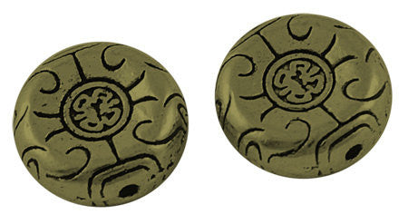 20 Antique BRONZE Tone Round Disc Charm Spacer Beads 12mm  bme0155