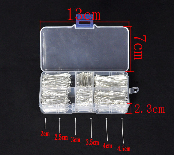 1 Box Well Sorted Silver Plated Head Pins . assorted sizes . 2100 pieces with storage box  pin0074