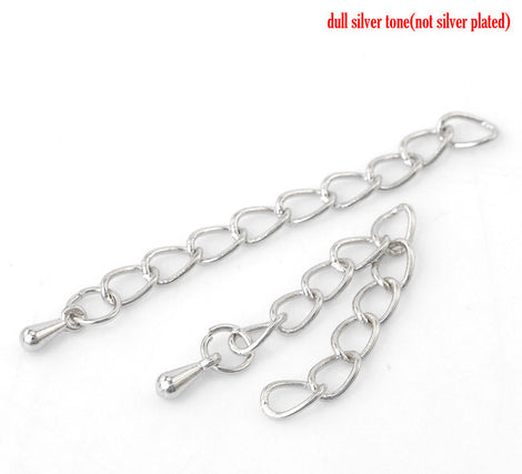 "10 Necklace Extension Chains, about 2"" long . silver tone metal curb link extender chain . fch0104"