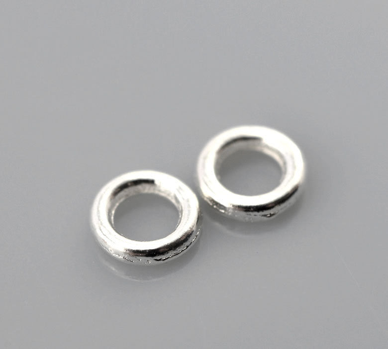 500 PCs SMALL 4mm Silver Plated Soldered Closed Jump Rings 20 gauge wire Findings  jum0023b