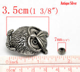 2 Large OWL Stud Rivets . 35mm x 28mm antiqued silver metal fin0167