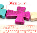 50mm Large Howlite Stone Beads MIXED COLORS Maltese CROSS, full strand, 8 beads, how0438