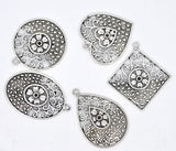 5 Antique Silver Filigree Charm Pendants, 1 of each style, mixed shapes, chs2997