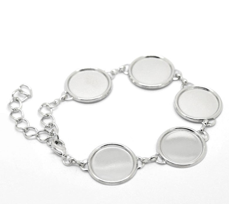 1 Silver Tone Metal CAMEO Charm Bracelets  .  fits 16mm cabochon fch0144