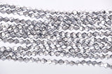 6mm SILVER METALLIC Faceted Bicone Crystal Glass Beads, full strand (about 50 Beads)  bgl0509
