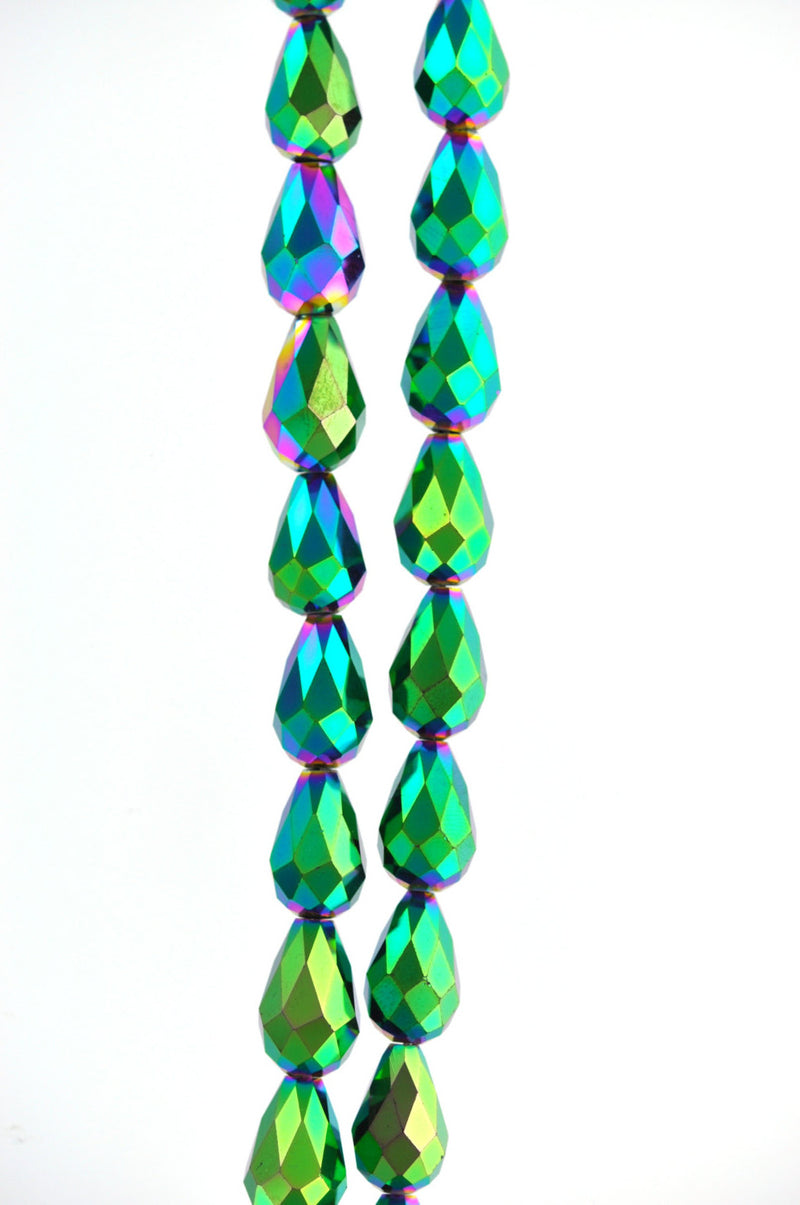 6 Teardrop Briolette Crystal PEACOCK METALLIC beads. 15mm x 10mm  bgl0563a