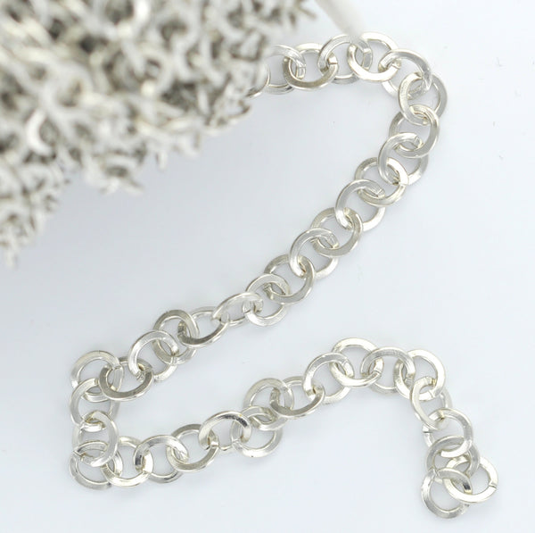 1 yard (3 feet) SILVER TONE Metal Circle Link Chain fch0204a