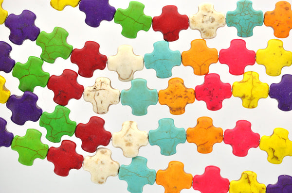 1 strand Howlite Stone Beads MIXED COLORS MALTESE Cross 15mm how0006