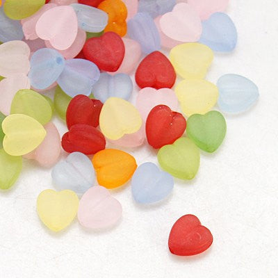 50 HEART MIX Acrylic Beads, 9x8mm . bac0239