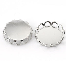10 Silver Tone Metal Cabochon Bezels, filigree bezel tray setting frame, fits 12mm round cabochon, fin0028