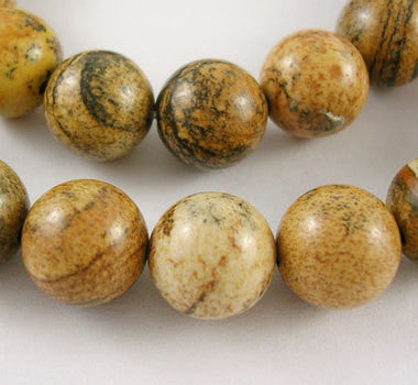 "1 Strand 15.5"" Round PICTURE JASPER Beads 10mm  Natural Gemstones gja0014"
