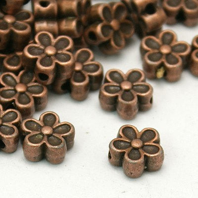 25 Copper Tone Metal DAISY FLOWER Spacer Beads 7mm bme0166