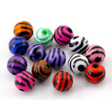 100 Mixed Colors Zebra Striped Round Acrylic Spacer Beads 12mm . bac0221