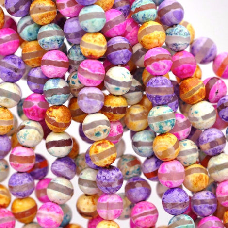 8mm Round Dyed FACETED Mixed Colors PASTEL AGATE Beads, full strand, about 47 beads,  Natural Gemstones, gag0109