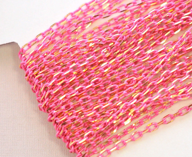 PINK Diamond Cut Cable Link Chain  .  1 yard (3 feet) fch0117