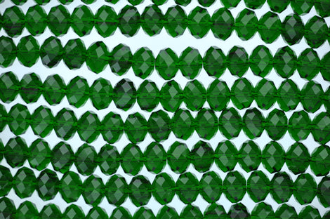 12mm x 8mm EMERALD GREEN Faceted Glass Crystal Rondelle Beads . 16 pieces bgl0552