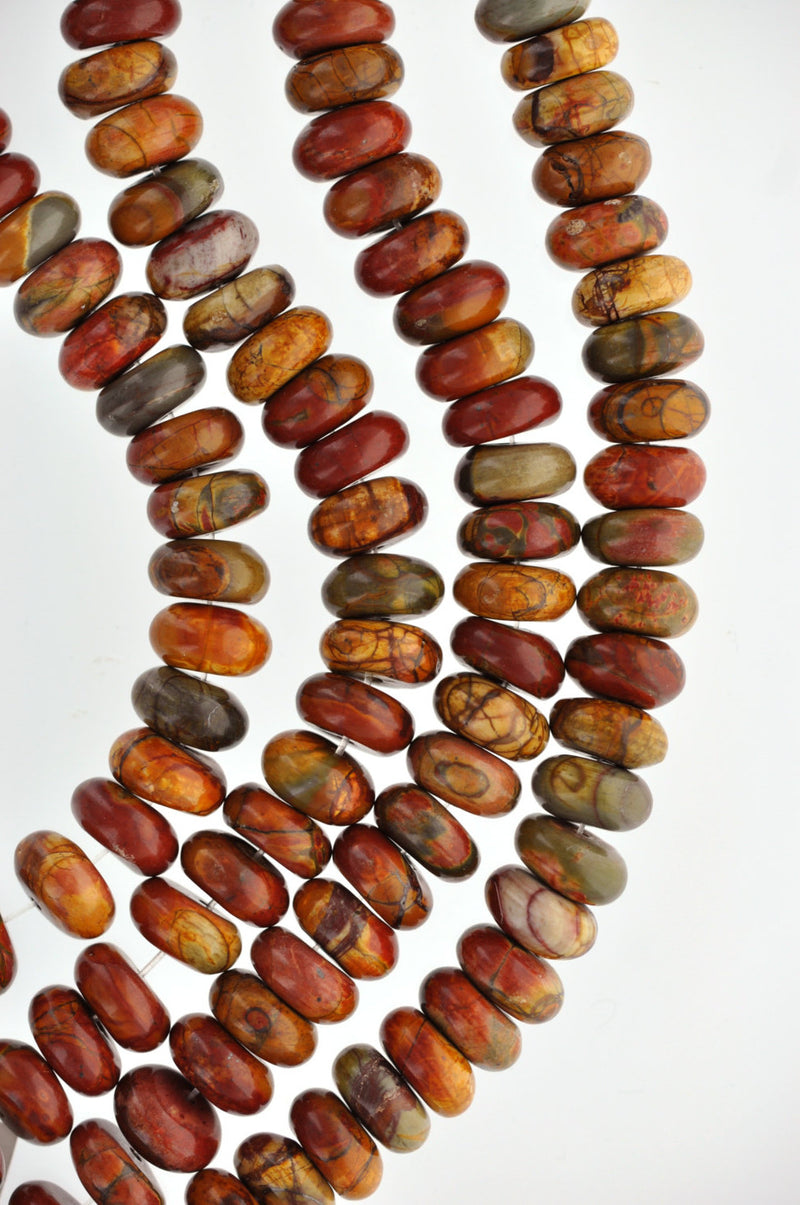 6mm Rondelle PICASSO JASPER Beads, gemstone jasper beads, full strand, about 98 beads, gja0129