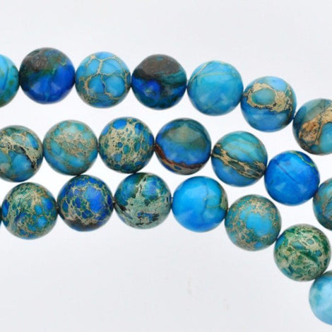 8mm Round BLUE IMPRESSION JASPER Beads, royal blue, dark blue, aqua terra jasper, full strand, gja0069