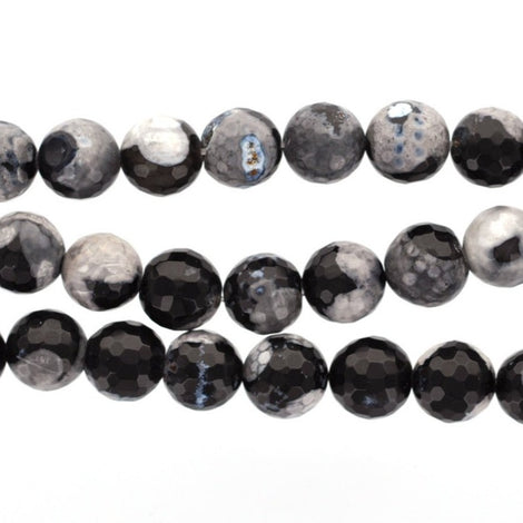 4mm Round TUXEDO AGATE Beads, faceted gemstone agate beads, black and white, full strand, about 95 beads, gag0233