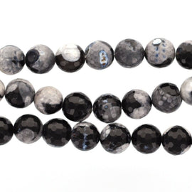 6mm Round TUXEDO AGATE Beads, faceted gemstone agate beads, black and white, full strand, about 63 beads, gag0232