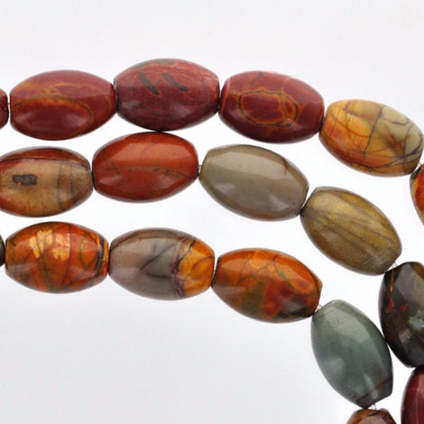14x10mm Oval Barrel PICASSO JASPER Beads, full strand, about 28 beads, gja0066