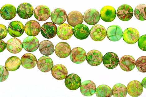 10mm Round Coin Green Impression Jasper Beads, aqua terra jasper, full strand gja0072