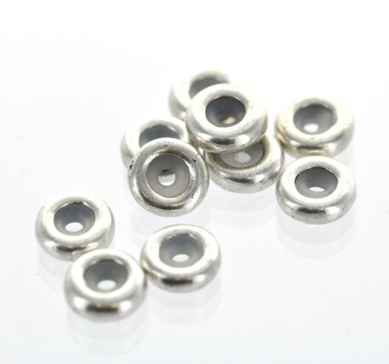 10 Silver Tone RUBBER STOPPER Beads. Fits Some European Style Bracelets and Necklace Chains 10mm  bme0135