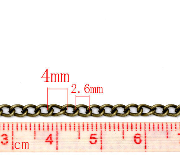 1 yard (3 feet) of Antiqued Bronze Oval Curb Link Chain  .  unsoldered links are 4x3mm  fch0192