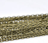 1 yard (3 feet) of Antiqued Bronze Flat Oval Cable Link Chain, unsoldered links are 5x4mm  fch0325a