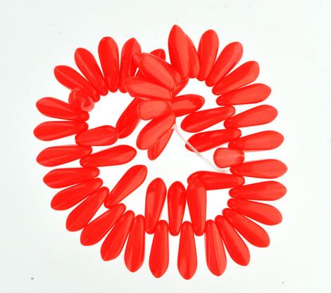 RED CORAL DAGGER Czech Pressed Glass Beads, 10mm . bgl0142