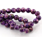 50 Round Glass Beads, purple with copper marbeling, marble pattern, 8mm  bgl0677
