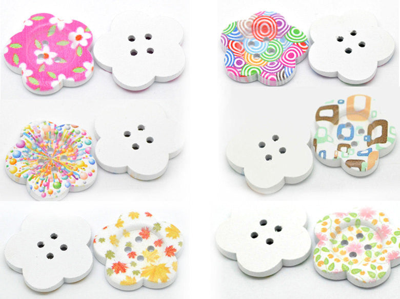 "6 Large White Painted 4-Hole WOOD FLOWER BUTTONS . 1-1/2"" but0154"