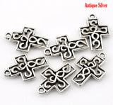 10 Antiqued Silver Pewter Small SCROLL CROSS Charm Pendants . chs0305